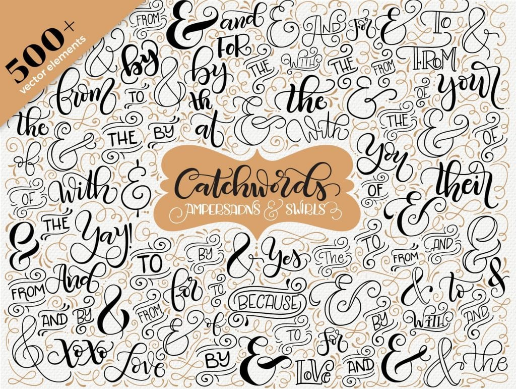 Catchwords, ampersands & swirls