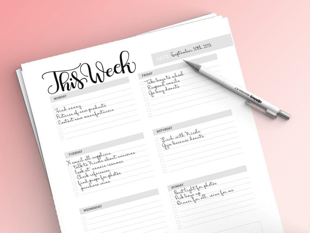 Weekly planner sheet – Planner