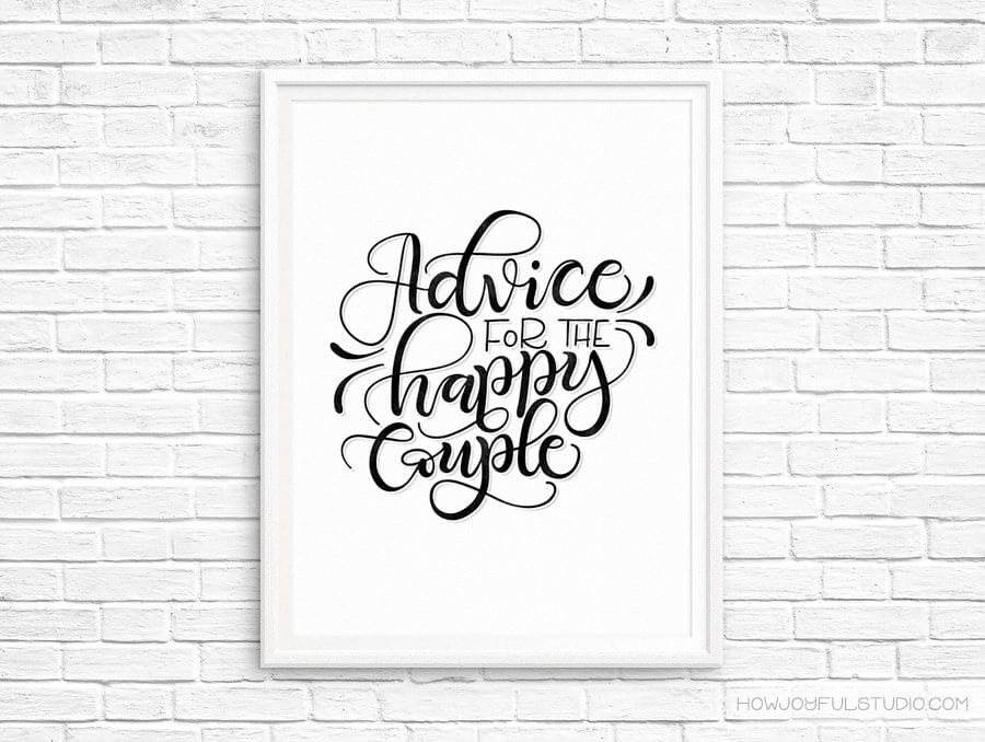 Advice for the happy couple – Wedding printable