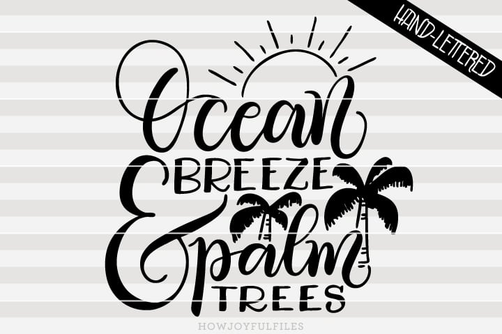Ocean breeze and palm trees – Summertime – SVG file