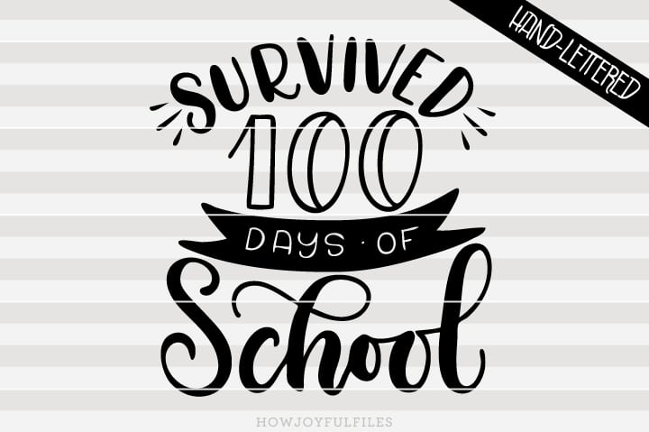 Survived 100 days of school – SVG file
